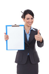 business woman with notepad making ok