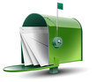 Open Green Mailbox with Letters