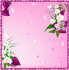 flowers and dark pink hearts in frame
