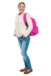 College student in winter wear posing with pink backpack