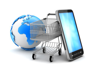 Shopping cart, cell phone and earth globe