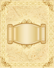 Stylish frame and banner on natural background