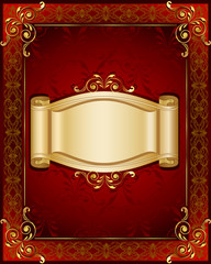 Stylish frame and banner on dark red background with ornaments