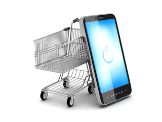Mobile phone and shopping cart