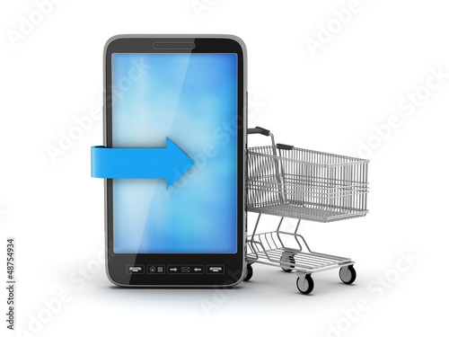 Cell phone and shopping cart