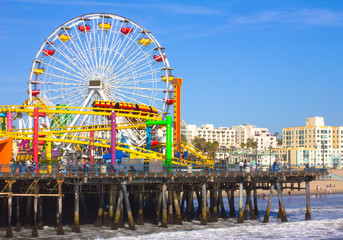 Santa Monica, CA. with a view of the Ferris Wheel