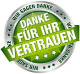 """Button Banner """"Danke für Ihr Vertrauen"""" grün/silber"""