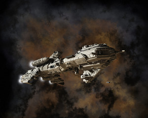 Interstellar Escort Frigate and Nebula