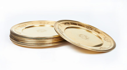 Silver plates with gilding