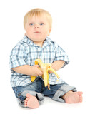 Little boy with banana, isolated on white