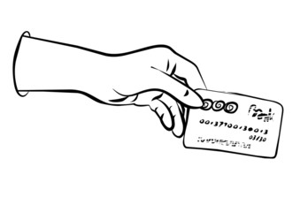karta bankowa w dłoni czarno biała ilustracja finansowa