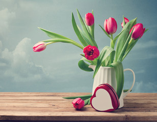 Valentine's Day concept. Beautiful tulip bouquet