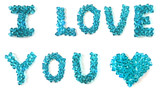 i love you inscription made of beautiful faceted beads