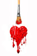 Brush paint red color heart
