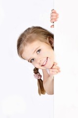Smiling cute little girl isolated