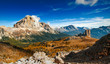 Italian dolomiti - panoramic view ofhigh mountains