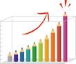 色鉛筆の上昇棒グラフ