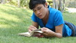 Asian Man Reading Book In The Park