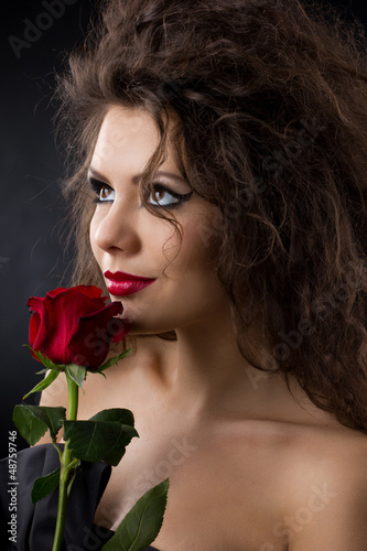 glamorous girl  with rose