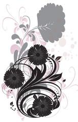 floral noir et rose