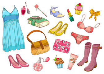 collection of fashionable girlish items