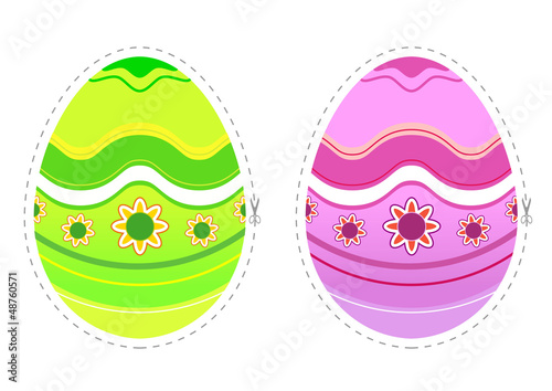 Oeufs - effet découpage - Pâques
