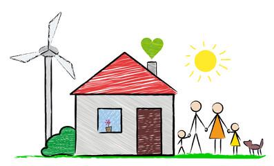 Familie mit Haus und Windrad