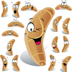 pastry roll cartoon with many expressions