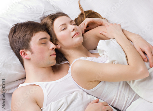Young man and woman sleepping