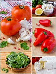 Collage of fresh vegetables and cheese