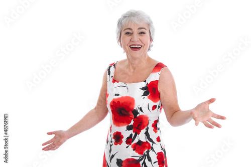 Glückliche ältere Frau - was kostet die Welt!