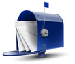 Open Blue Mailbox with Letters