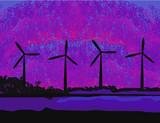 wind turbine sunset background ecosystem for design poster