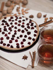 Blackberry Pie Served in a Dish with tea