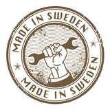 Grunge rubber stamp with words Made in Sweden inside, vector