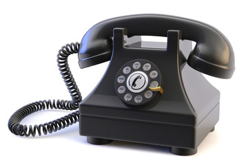Rotary Phone on a White Background