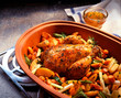 Roast chicken in clay pot