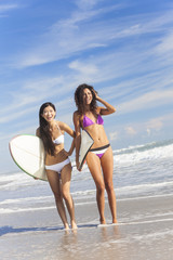 Beautiful Bikini Women Surfers & Surfboards At Beach