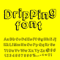 Abstract dripping font. Vector illustration.