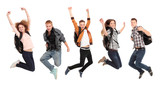 Group of happy young people jumping