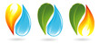 Fire, water and plant icons