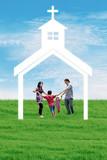 Christian family at church