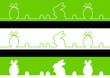3 Frises oeufs et lapin - couleur herbe - Pâques