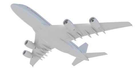 White passenger plane. Bottom view