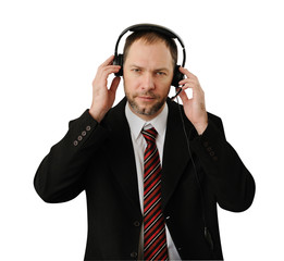 Man in suit with headset isolated on white