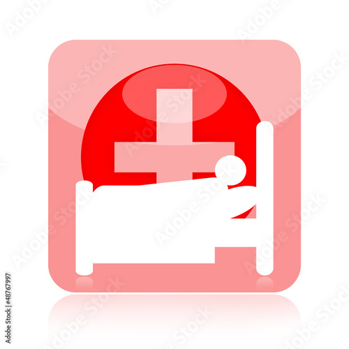 Patient in hospital bed icon with medical cross