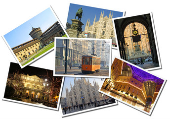 Collage made of postcards of the Milan city, Italy