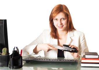girl holds a paper stapler