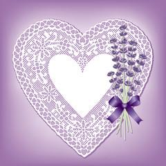 Vintage Lace Heart Valentine, Lavender flower, bow, copy space