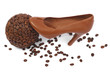 bowl of coffee and chocolate shoe isolated